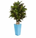 4� Croton Artificial Plant in Turquoise Planter -