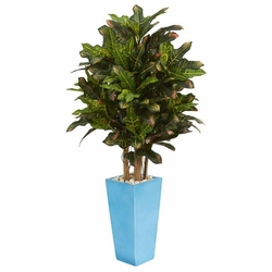 4' Croton Artificial Plant in Turquoise Planter -
