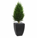 4� Cypress Cone Artificial Topiary Tree in Black Wash Planter UV Resistant (Indoor/Outdoor) -