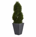 4� Cypress Double Spiral Topiary Artificial Tree in Slate Planter UV Resistant (Indoor/Outdoor) -