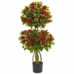 4' double bougainvillea artificial topiary tree - flowering trees Artificial Topiary Trees