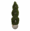 4� Double Pond Cypress Spiral Artificial Tree in Sand Colored Planter UV Resistant (Indoor/Outdoor) -