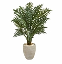 4� Evergreen Artificial Plant in Scrape Finish Planter -