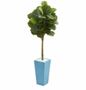 4� Fiddle Leaf Artificial Tree in Turquoise Planter (Real Touch) -