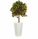 4� Fuschia Artificial Tree in White Tower Planter -