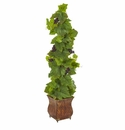 4� Grape Artificial Plant in Square Metal Planter -