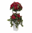 4� Poinsettia Berry Topiary w/Decorative Planter