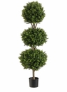 4' Artificial Triple Ball Boxwood�Topiary Tree in Plastic Pot