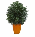 4� Triple Bamboo Artificial Plant in Orange Planter -