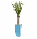 4� Yucca Artificial Tree in Turquoise Planter -