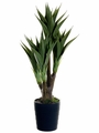 "40"" Artificial Agave Attenuata Plant 4 Stalks in Black Plastic Pot - Set of 4"