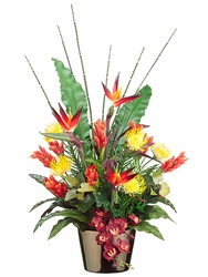 "40"" Artificial Bird of Paradise, Protea, Ginger Flower Arrangement   in Ceramic Pot"