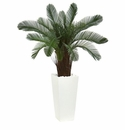 40� Cycas Artificial Tree in White Tower Planter UV Resistant (Indoor/Outdoor) -