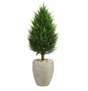 40� Cypress Cone Artificial Tree in Sand Colored Oval Planter UV Resistant (Indoor/Outdoor) -