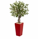 40� Olive Artificial Tree in Red Tower Planter -