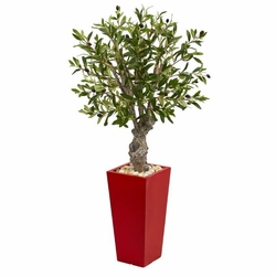 "40"" Olive Artificial Tree in Red Tower Planter"