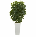 40� Schefflera  Artificial Plant in White Vase (Real Touch)