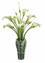 "44"" Artificial Calla Lily Flower Arrangement in Designer Leaf Vase"
