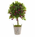 45� Fuschia Artificial Tree in Barrel Planter -