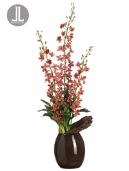 "46"" Artificial Grammatophyllum Orchid Plant with Driftwood Arrangement in Ceramic Vase"