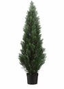 "48"" Artificial Cedar Topiary Trees in Plastic Pot - Set of 2"