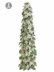 "48"" Artificial Cone-Shaped Silk White Roses and Dusty Miller Topiary Tree"