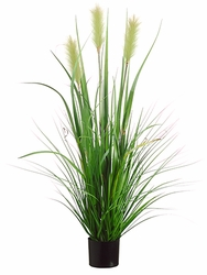 """48"""" Artificial Foxtail Reed Grass Plant in Pot - Set of 4"""
