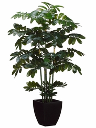 "48"" Artificial Zamia Plant in Black Plastic Pot - Set of 2"
