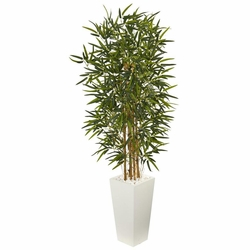 5.5' Bamboo Artificial Tree in White Tower Planter