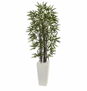 5.5� Black Bamboo Artificial Tree in White Tower Planter