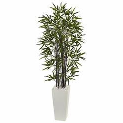5 Black Bamboo Artificial Tree In White Tower Planter