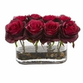 "5.5"" Blooming Roses in Glass Vase Artificial Arrangement - Burgundy"