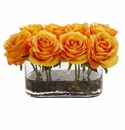 5.5� Blooming Roses in Glass Vase Artificial Arrangement - Orange Yellow