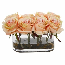 """5.5"""" Blooming Roses in Glass Vase Artificial Arrangement - Peach"""
