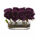 5.5� Blooming Roses in Glass Vase Artificial Arrangement - Purple Elegance