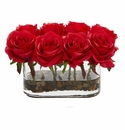 5.5� Blooming Roses in Glass Vase Artificial Arrangement - Red