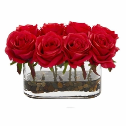 """5.5"""" Blooming Roses in Glass Vase Artificial Arrangement - Red"""