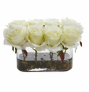 5.5� Blooming Roses in Glass Vase Artificial Arrangement - White