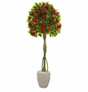 5.5� Bougainvillea Topiary Artificial Tree in Sand Colored Planter -
