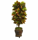 5.5� Croton Artificial Plant in Decorative Planter (Real Touch) -