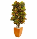 5.5� Croton Artificial Plant in Orange Planter (Real Touch) -