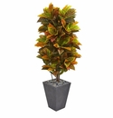 5.5� Croton Artificial Plant in Slate Planter (Real Touch) -