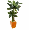 5.5� Double Stalk Banana Artificial Tree in Orange Planter -