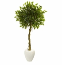 5.5� Ficus Artificial Tree in White Oval Planter UV Resistant (Indoor/Outdoor) -