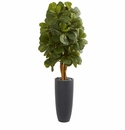 5.5� Fiddle Leaf Artificial Tree in Gray Cylinder Planter  -