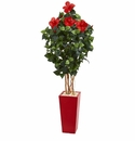 5.5� Hibiscus Artificial Tree in Red Tower Planter -