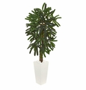 5.5� Raphis Palm Artificial Tree in White Tower Planter