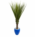 5.5� Spiky Agave Artificial Plant in Blue Oval Planter -