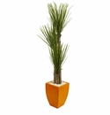 5.5� Triple Stalk Yucca Artificial Plant in Orange Planter -