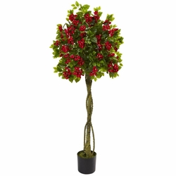 5' Bougainvillea Artificial Topiary Tree